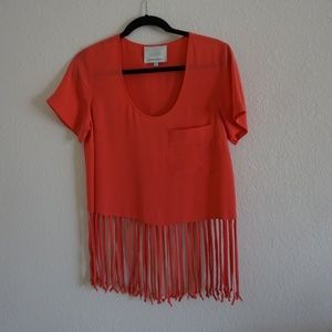 Madison Marcus Silk Crop Tee with Fringed Bottom.
